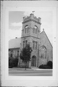 W63 N642 WASHINGTON AVE, a Romanesque Revival church, built in Cedarburg, Wisconsin in 1909.