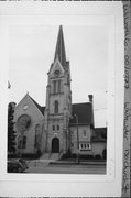 130 S CHURCH ST, a Romanesque Revival church, built in Whitewater, Wisconsin in 1882.