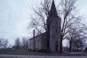 N12806 FOND DU LAC AVE, a Gothic Revival church, built in Germantown, Wisconsin in 1862.