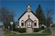 CHICAGO AND MAIN ST, a Gothic Revival church, built in Oconto, Wisconsin in 1886.