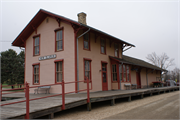 418 RAILROAD STREET, a Astylistic Utilitarian Building depot, built in New Glarus, Wisconsin in 1887.