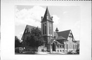120 W PLEASANT ST, a Queen Anne church, built in Portage, Wisconsin in 1893.