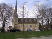 1315 11TH ST, a High Victorian Gothic church, built in Monroe, Wisconsin in 1869.