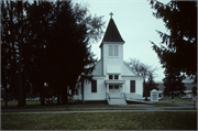 STATE HIGHWAY HIGHWAY 22 AND GRANDVIEW, a Queen Anne church, built in Farmington, Wisconsin in 1890.
