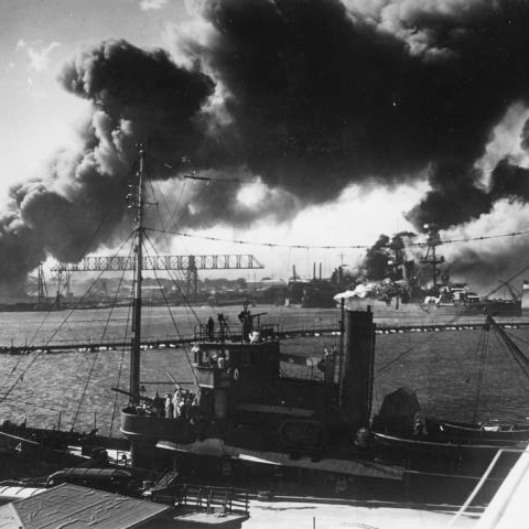 Pearl Harbor, Hawaii. Smoke rises from the Japanese attack on December 7, 1941.