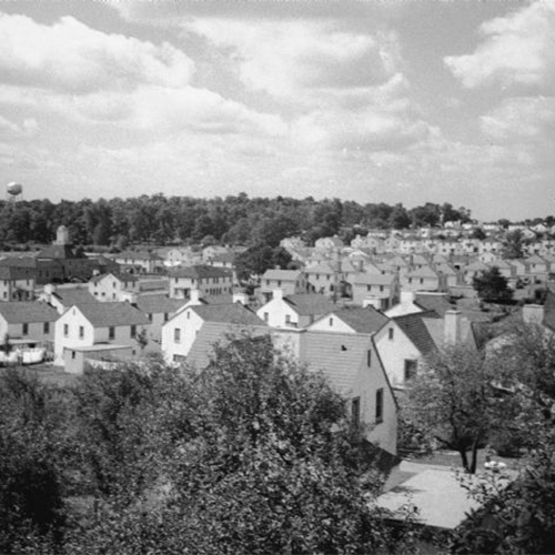 An old picture of a Wisconsin neighboorhood from a hill