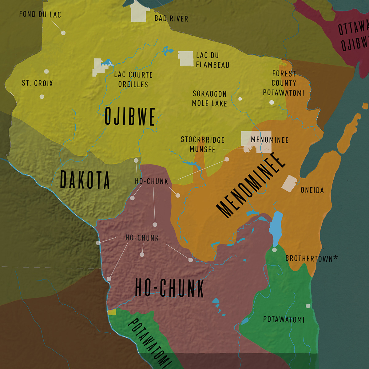 Map of the First Nations in Wisconsin