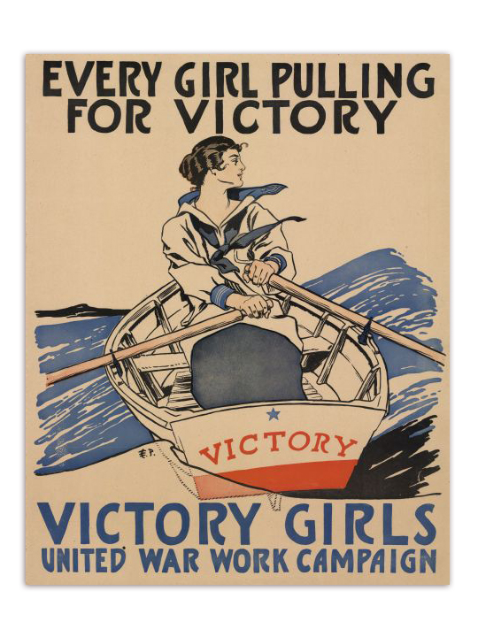 Girl Pulling For Victory Propaganda Poster