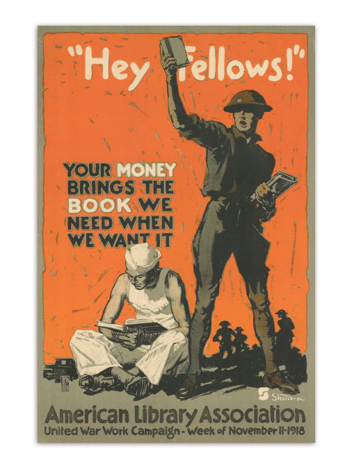 Hey Fellows Donate to your local library propaganda poster