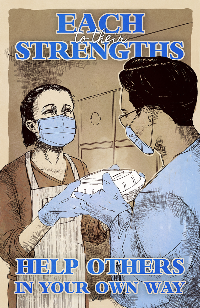 To Each Their Strengths by Jolyn Sandford Poster, featuring an Asian woman handing food to a dark haired person, lots of blues, reminiscent of WWII Nursing Posters.