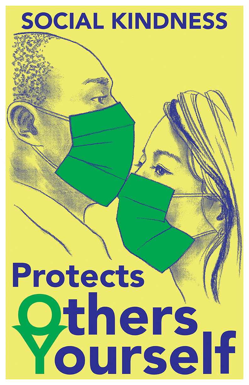 Yeonhee Cheong's Social Kindness Poster, depicting two people wearing masks facing each other with the words Social Kindness Protects Others & Yourself