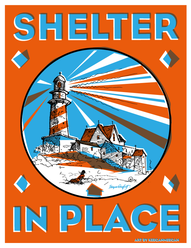 Keegen Onefoot Wenkman's Shelter in Place Poster, depicting a large lightouse and home in vibrant two town, loosely referencing Christina's World.
