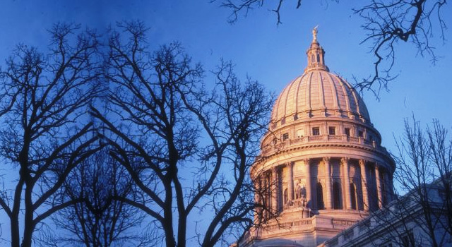 The dome of the Wisconsin State Capitol Building.