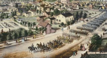 Birds-eye painting of a Wisconsin Civil War regiment in a parade.
