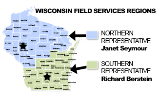 Map of Wisconsin indicating the Northern and Southern representative areas.