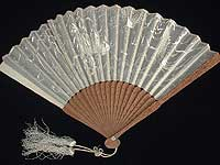 Monochromatic off-white silk embroidered fan with sandalwood sticks