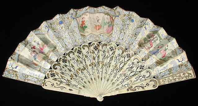 White fan with guilded sticks scrollwork. Background gives the impression of lace. Watercolor scenes throughout.