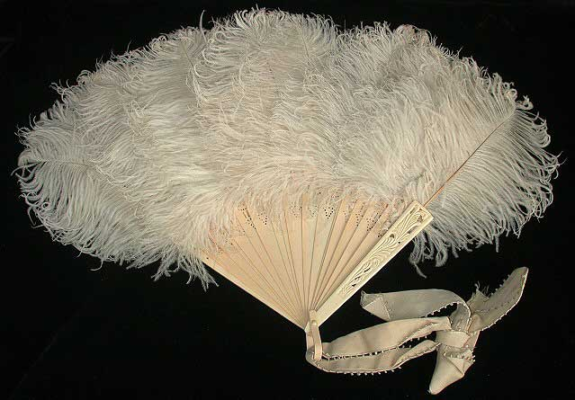 Monochromatic white fan with carved sticks and ostrich feathers at tips. White ribbon tied at base.
