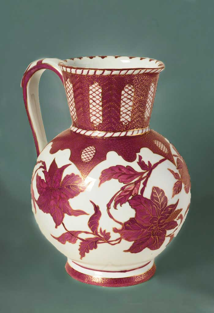 Decorated pitcher, ewer, ceramic, white, red floral and trellis design, gilt trim