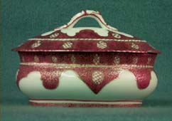 Soap dish, ceramic, white, red trellis design, gilt trim.