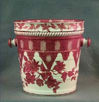 Slop jar, ceramic, white, red floral and trellis design, gilt trim.
