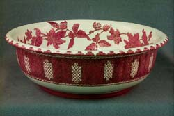 Decorated Wash Basin, ceramic, white, red floral and trellis design, gilt trim.