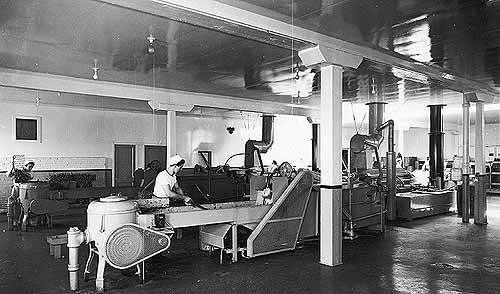 Women with hats working near conveyor belts inside the potato chip factory.