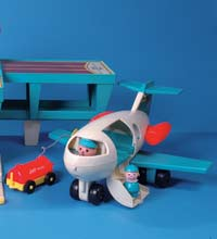 Toy airplane with toy pilot.